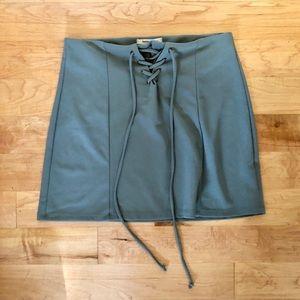 Green tie up skirt